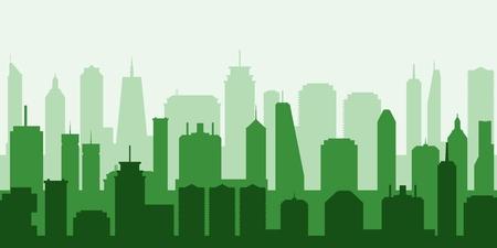 Vector cityscape. Modern green city illustration - skyscraper skyline.