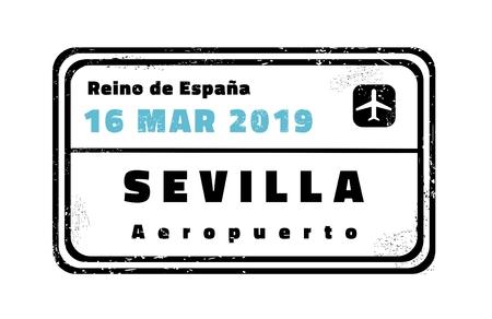 Sevilla passport stamp. Novelty vector travel stamp with destination city in Spain. Иллюстрация