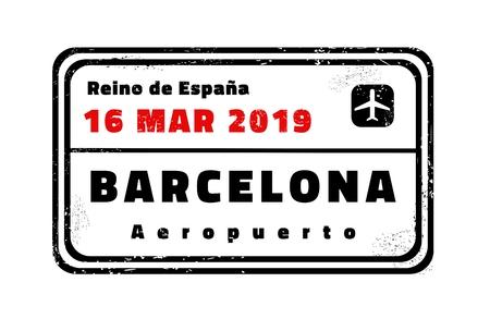 Barcelona passport stamp. Novelty vector travel stamp with destination city in Spain. Ilustracja