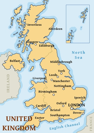 UK map vector - important cities marked on map of the United Kingdom.