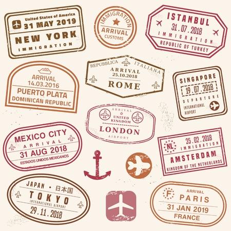 Jeu de timbres de passeport - collection de timbres de passeport de vecteur de nouveauté.