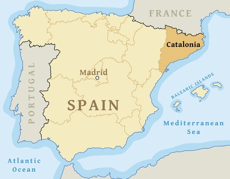 Catalonia autonomous community location map within Spain. Vector illustration.