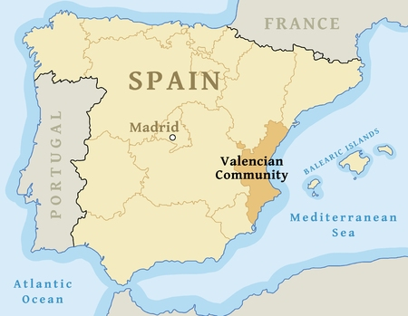 Valencian Community (Comunidad Valenciana) autonomous community location map within Spain. Vector illustration. Иллюстрация