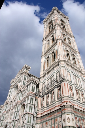 Florence, Italy - Cathedral facade. Old religious landmark of Tuscany.