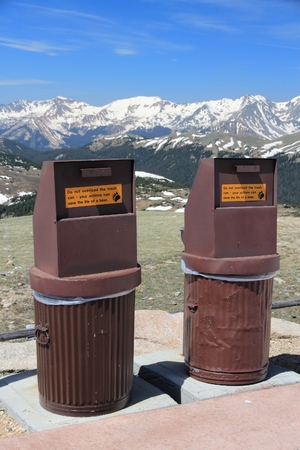 Bear proof garbage cans in Rocky Mountain National Park, Colorado. Anti-bear waste measures.