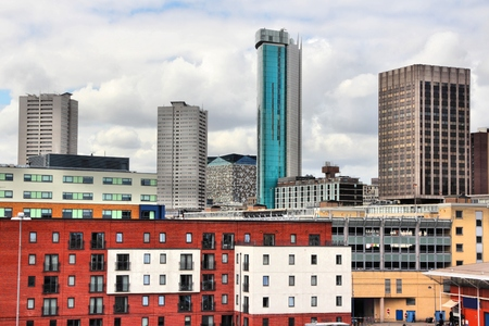 Birmingham UK skyline - modern cityscape of skyscrapers.