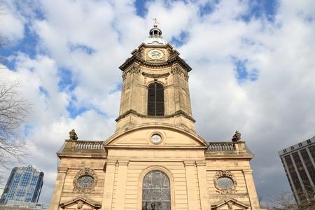 Birmingham UK landmark. Exterior of Saint Philips Anglican Cathedral.