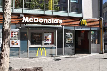 NUREMBERG, GERMANY - MAY 7, 2018: McDonald's restaurant in Nuremberg, Germany. McDonald's is one of largest fast food chains worldwide.