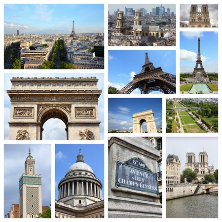 Paris photos collage - France capital city landmark postcard collection.