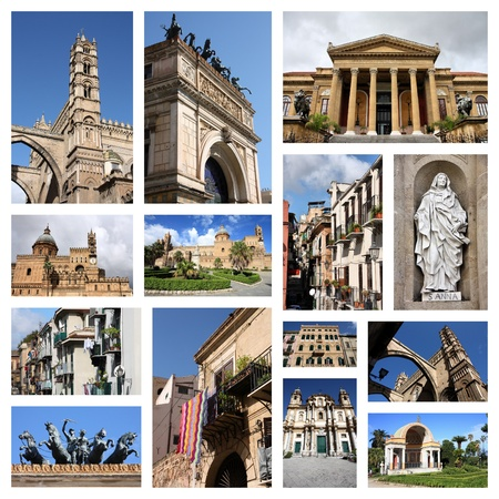 Palermo, Italy city postcard - travel place landmark picture collage. Banco de Imagens