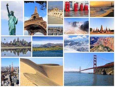 Collage de monumentos del mundo: fotos de Estados Unidos, Francia, Inglaterra, España, Brasil, Nueva Zelanda, Japón, Tailandia y Camboya.