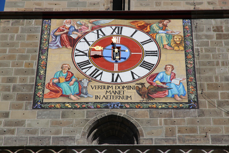 Brasov town in Transylvania, Romania. Black Church detail - painted clock.
