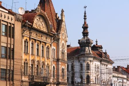 Cluj-Napoca city in Romania. Old street view.