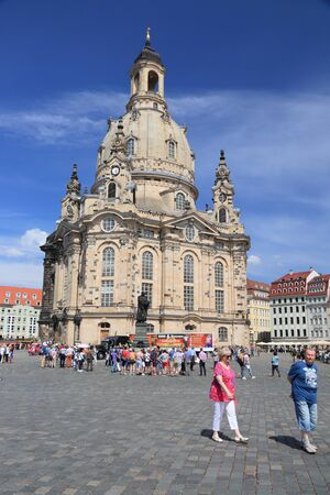 DRESDEN, GERMANY - MAY 10, 2018: People visit Neumarkt square in Altstadt (Old Town) district of Dresden, the 12th biggest city in Germany. Editorial