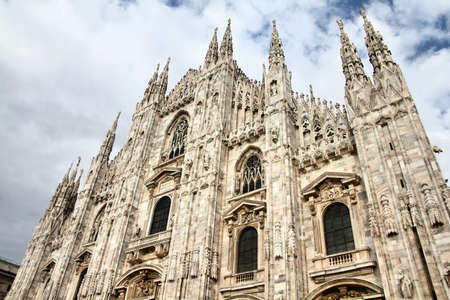 Milan Cathedral, Italy. Gothic style marble church facade.