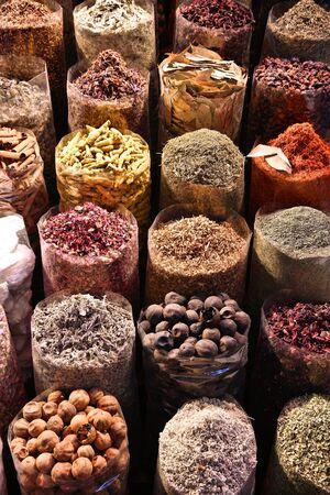 Dubai Spice Market (Dubai Spice Souk) - choice of colorful herbs and spices.