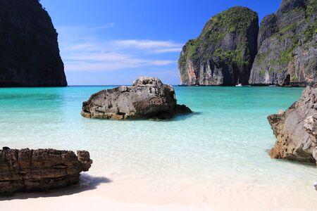 Maya Bay beach. Thailand landscape - Thai marine national park landscape. Ko Phi Phi Leh island in Krabi province.