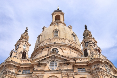 Dresden landmarks, Germany - Frauenkirche Lutheran church. Baroque religious architecture.