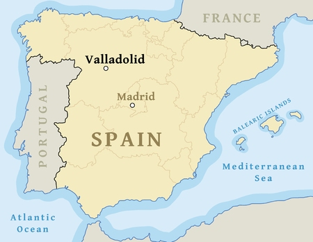 Valladolid map location. Locate city on map of Spain - vector illustration.
