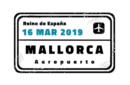 Mallorca passport stamp. Novelty vector travel stamp with island destination in Spain.
