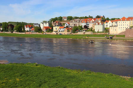 Meissen town in Germany (Free State of Saxony). River Elbe and riverfront villas.