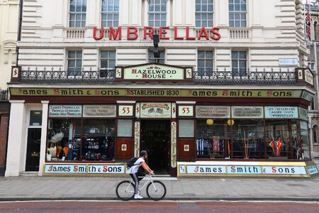 LONDON, UK - JULY 9, 2016: James Smith and Sons umbrella store in London. The New Oxford Street store is a Grade II Listed Monument. Sajtókép