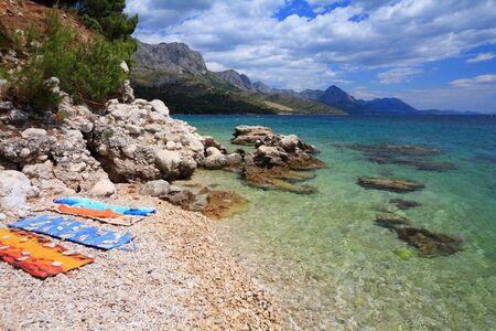 Croatia landscap. Mediterranean coast in Dalmatia. Zivogosce beach - Adriatic Sea.