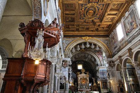 ROME, ITALY - APRIL 8, 2012: Interior of Basilica Santa Maria in Aracoeli in Rome. The famous romanesque church dates back to 12th century.