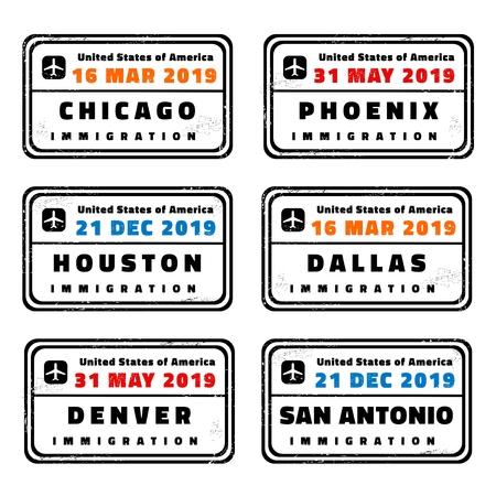 USA vector passport stamps collection: Chicago, Phoenix, Houston, Dallas, Denver and San Antonio. 向量圖像
