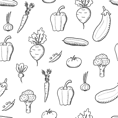Vegetable vector. Doodle vegetables texture. Seamless fashion design.