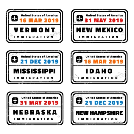 United States vector stamps set: Vermont, New Mexico, Mississippi, Idaho, Nebraska and New Hampshire. 向量圖像