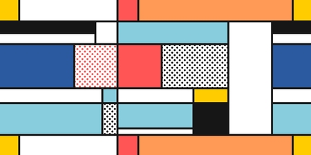 Mondrian geometric style art - seamless modern simple pattern. Textile or gift paper design.