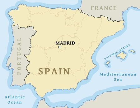Madrid map location. Find city on map of Spain - vector illustration. Archivio Fotografico - 127128417