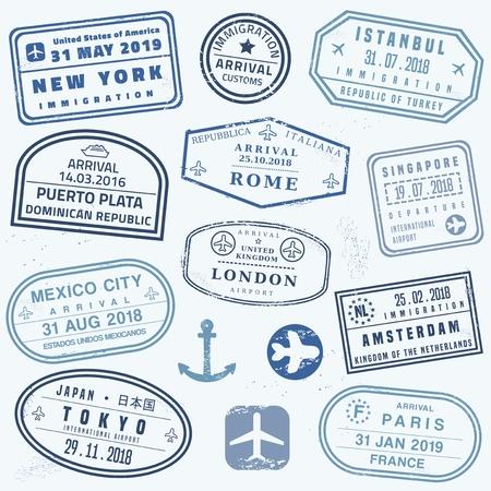 Jeu de timbres de passeport vectoriel - collection de timbres de passeport de nouveauté.