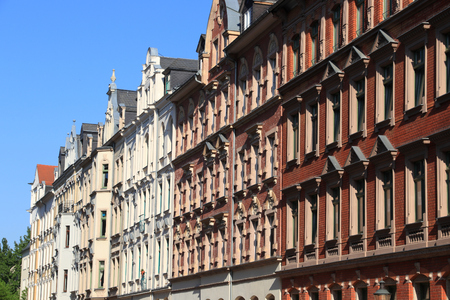 Chemnitz city - street view of residential architecture in Germany. Apartment buildings of Kassberg district. Stock Photo