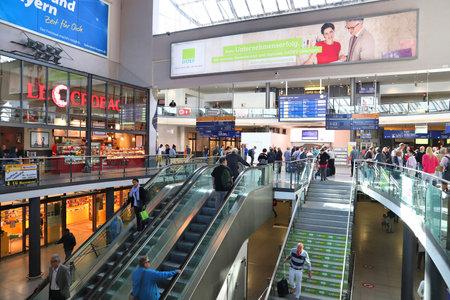 NUREMBERG, GERMANY - MAY 6, 2018: Passengers visit Nuremberg Central Station (Hauptbahnhof), Germany. Nuremberg is located in Middle Franconia. 511,628 people live here.