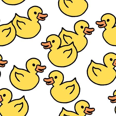 Juguete de baño patito de goma amarillo. Textura fluida estilo Doodle.