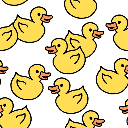 Yellow rubber ducky bath toy. Doodle style seamless texture. Illustration