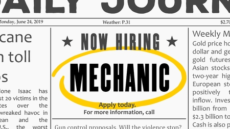 Mechanic job offer. Newspaper classified ad career opportunity. 版權商用圖片 - 127128422