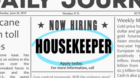 Housekeeper job offer. Newspaper classified ad career opportunity. Illustration