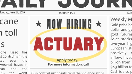 Actuary job offer. Newspaper classified ad career opportunity. Illustration