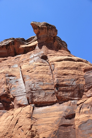 Peculiar rock shape in Colorado National Monument canyon, United States.