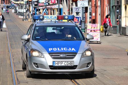CHORZOW, POLAND - APRIL 7, 2018: Police car Kia Ce'ed in Chorzow, Poland. Police in Poland has some 100,000 officers.
