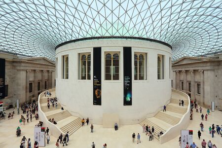 LONDON, UK - JULY 9, 2016: People visit British Museum Great Court in London. The museum was established in 1753 and holds approximately 8 million objects.