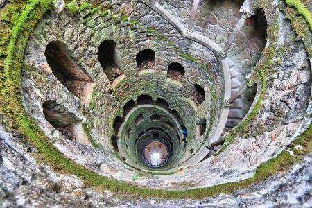 Sintra, Portugal. Initiation well of Quinta da Regaleira park.