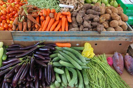 Local vegetables market in El Nido, Palawan, Philippines. Colorful veggies.