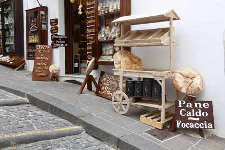 MONTE SANT ANGELO, ITALY - JUNE 6, 2017: Local artisanal bakery shop in Monte Sant Angelo, Italy. The sanctuary town is part of UNESCO World Heritage Site: Longobards Places of Power.