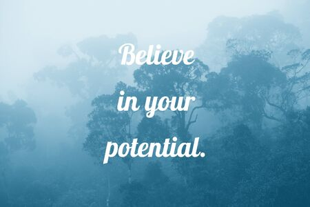 Believe in your potential - inspirational text. Motivation sign or poster.