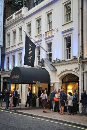 LONDON, UK - JULY 6, 2016: Sothebys auction house in London. Sothebys is one of the worlds largest brokers of fine art, jewelry, real estate, and collectibles.