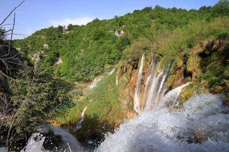 Plitvice Lakes National Park. Croatia waterfalls landscape. 免版税图像